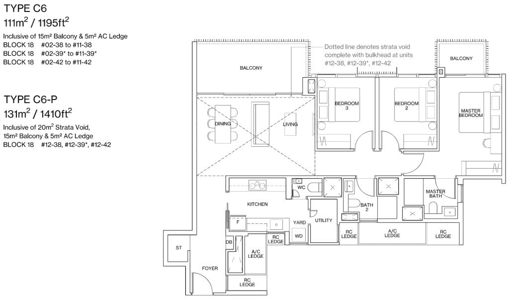 Ki Residences Floor Plan 3 Bedroom Plus Utility Type C6