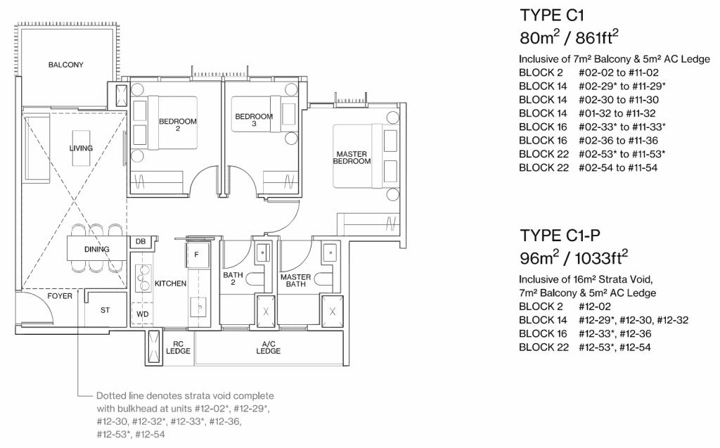 Ki Residences Floor Plan 3 Bedroom Type C1