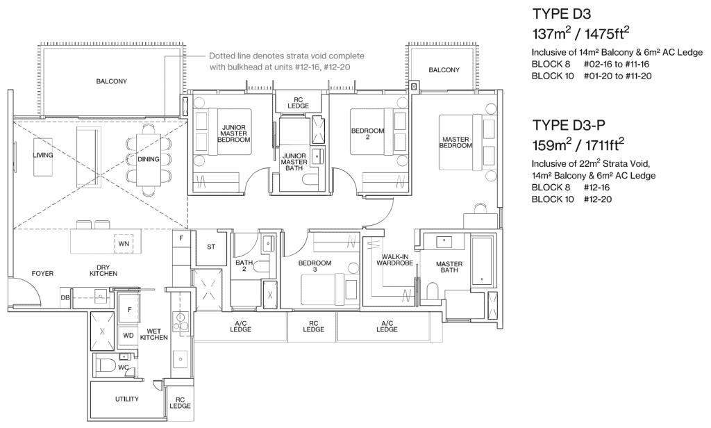 Ki Residences Floor Plan 3 Bedroom Plus Utility Type D3